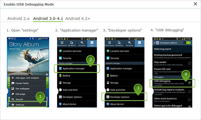 enable usb debugging on android 3.0 to 4.1